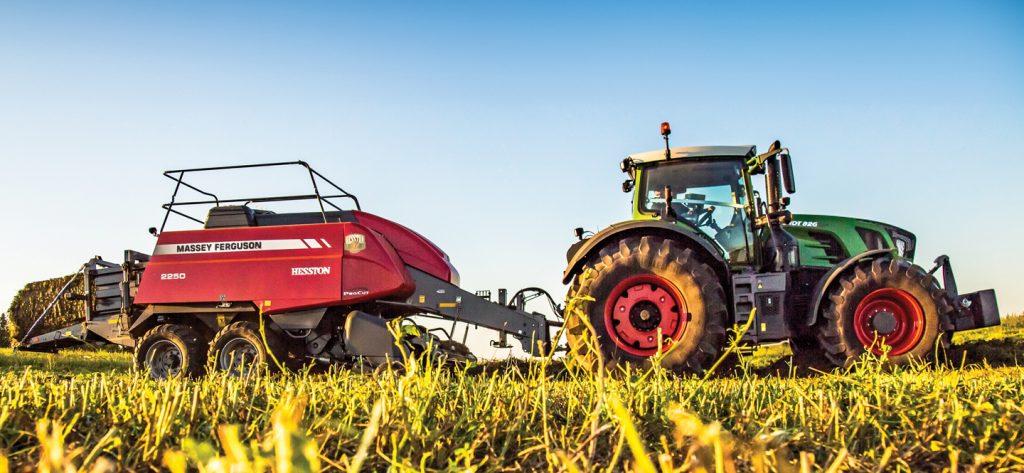 Fendt Tractor pulling Hesston baler